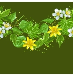 Spring green leaves and flowers seamless border vector