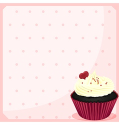 A stationery with a chocolate cupcake with a heart vector