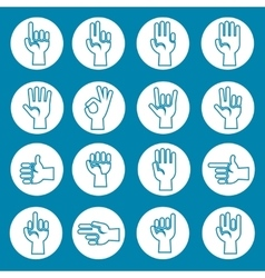 Hands gestures icons set blue vector