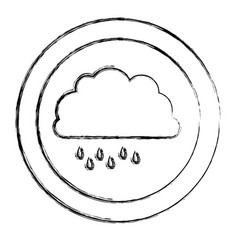 Monochrome blurred circular frame with cloud with vector