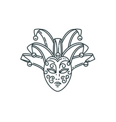 Line carnival mask design vector
