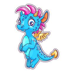 Little cute cartoon dragon patch vector