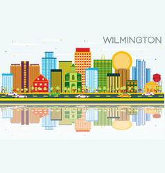 Wilmington skyline with color buildings blue sky vector
