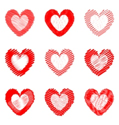 Set of design doodle drawn heart icons vector