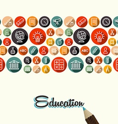 Education flat icons seamless pattern background vector