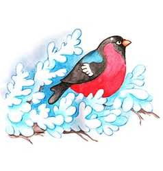 Christmas background with bullfinch vector