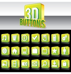3D Shiny Green Buttons for Website or Apps vector image vector image