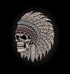 Native american indian chief skull vector