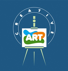 Logo creative easel for art vector
