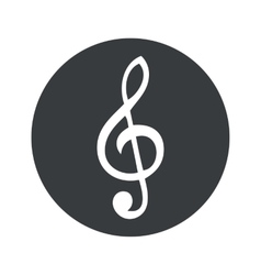 Monochrome round music icon vector