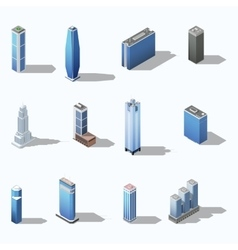 Modern skyscraper isometric building set vector