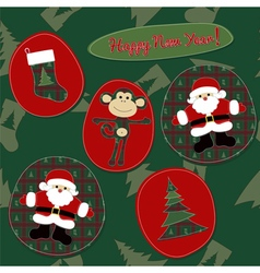 Monkey happy new year - patchwork card vector
