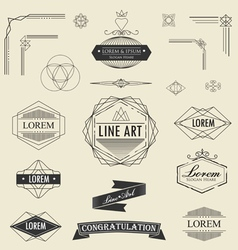 Set of retro vintage linear thin line art deco vector