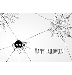 Cute spider and webs over gray background vector