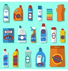 Household chemicals flat design set vector