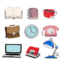 Office supplies icons set vector