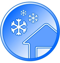 Blue winter icon with snow and house vector