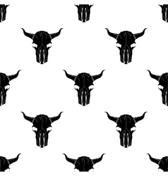 Bull Skull Silhouette Seamless Pattern vector image
