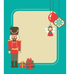 Christmas vintage greeting card with nutcracker vector image vector image