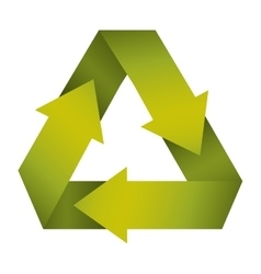Green recycling symbol shape with gradient vector