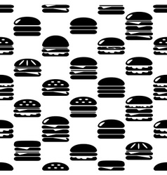 Hamburgers types fast food icons seamless pattern vector