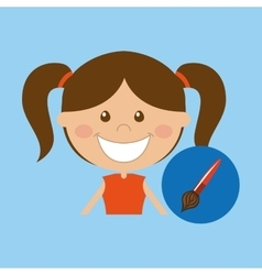 Happy girl student school paint brush icon vector