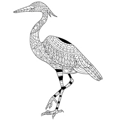 Heron coloring for adults vector