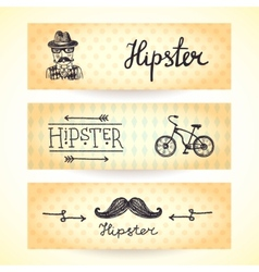 Hipster banners set vector image vector image