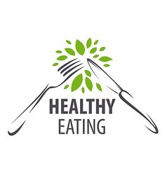 Logo fork knife and green leafs vector