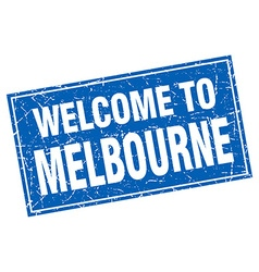 Melbourne blue square grunge welcome to stamp vector