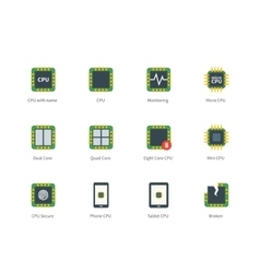 Modern computer processor color icons on white vector