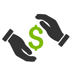 money insurance hands flat icon vector image vector image