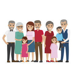 Multi-generation family colourful photo on white vector