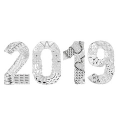 number 2019 zentangle decorative object vector image