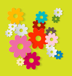 Paper Cut Flowers Colorful Paper Flower Set on vector image vector image