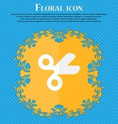 Scissors hairdresser tailor floral flat design on vector