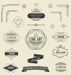 Set of retro vintage linear thin line art deco vector