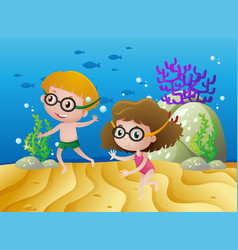 two kids diving under the sea vector image