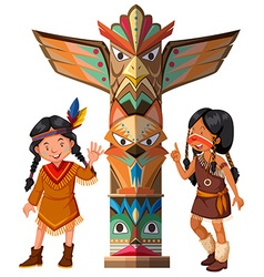 Two red indians and totem pole vector
