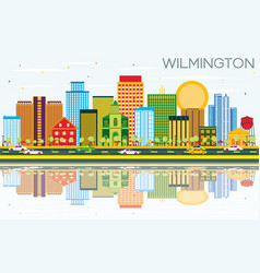 wilmington skyline with color buildings blue sky vector image
