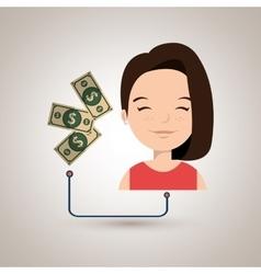 Woman cartoon bills money dollar vector