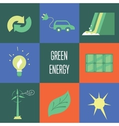 Green energy icons set eco concept vector
