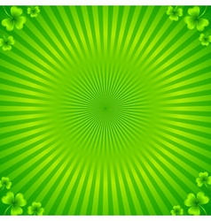 Green radial stripes background with clovers vector image