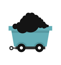 cart on wheels with coal icon flat style vector image