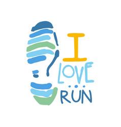 i love run logo symbol colorful hand drawn vector image