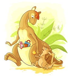 Funny cartoon mother kangaroo with her baby walk vector