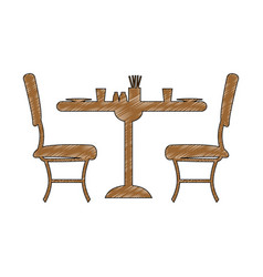 desk with chairs restaurant vector image