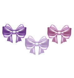 Pastel pink satin bow with ribbons vector