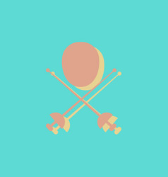 Fencing equipment in sticker style vector