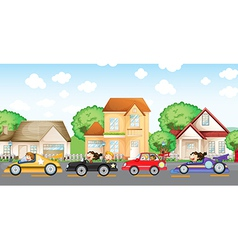 Teenagers car racing in front of the neighborhood vector image
